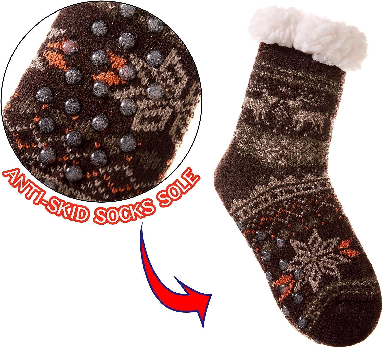 Kids Boys Girls Fuzzy Slipper Socks Soft Warm Thick Fleece lined Christmas Stockings For Child Toddler Winter Home Socks