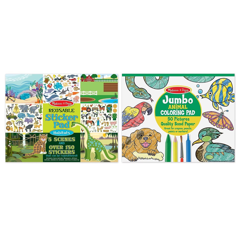 Amazon.com: Melissa & Doug Sticker and Jumbo Coloring Pads Set ...