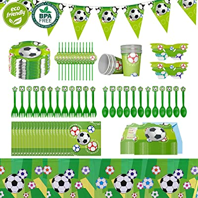 Cieovo Soccer Party Supplies Sports Themed Pack, Comes with Disposable Tableware and Birthday Party Decoration Set, All-In-One Value Kit, Perfect for All Party. Includes 10 Varieties 106 Pieces: Toys & Games