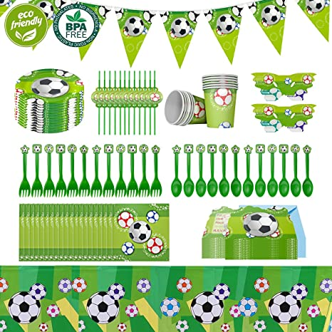 Cieovo 2019 Soccer Party Supplies Sports Themed Pack Comes With Disposable Tableware And Birthday