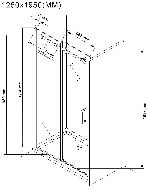 130x195cm Nischen- ESG-Klarglas. Duscht/ür Duschwand Nischent/ür Schiebesysteme Schiebet/ür 8 mm Nischendusche Dusche