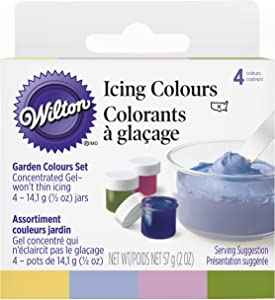 Wilton Food Color Icing Garden Tone Colors. Four 1/2 oz. Jars