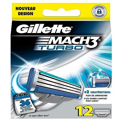 Gillette mach 3 turbo - Recambios para cuchillas de afeitar (12 unidades)