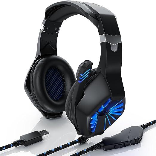 CSL - Auriculares para PC | con micrófono / auriculares | Auriculares USB para jugadores | Mando a distancia por cable / Tarjeta de sonido externa | Para ...