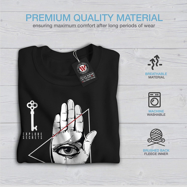 wellcoda Triangle Eye Key Mens Sweatshirt Hand Palm Casual Jumper