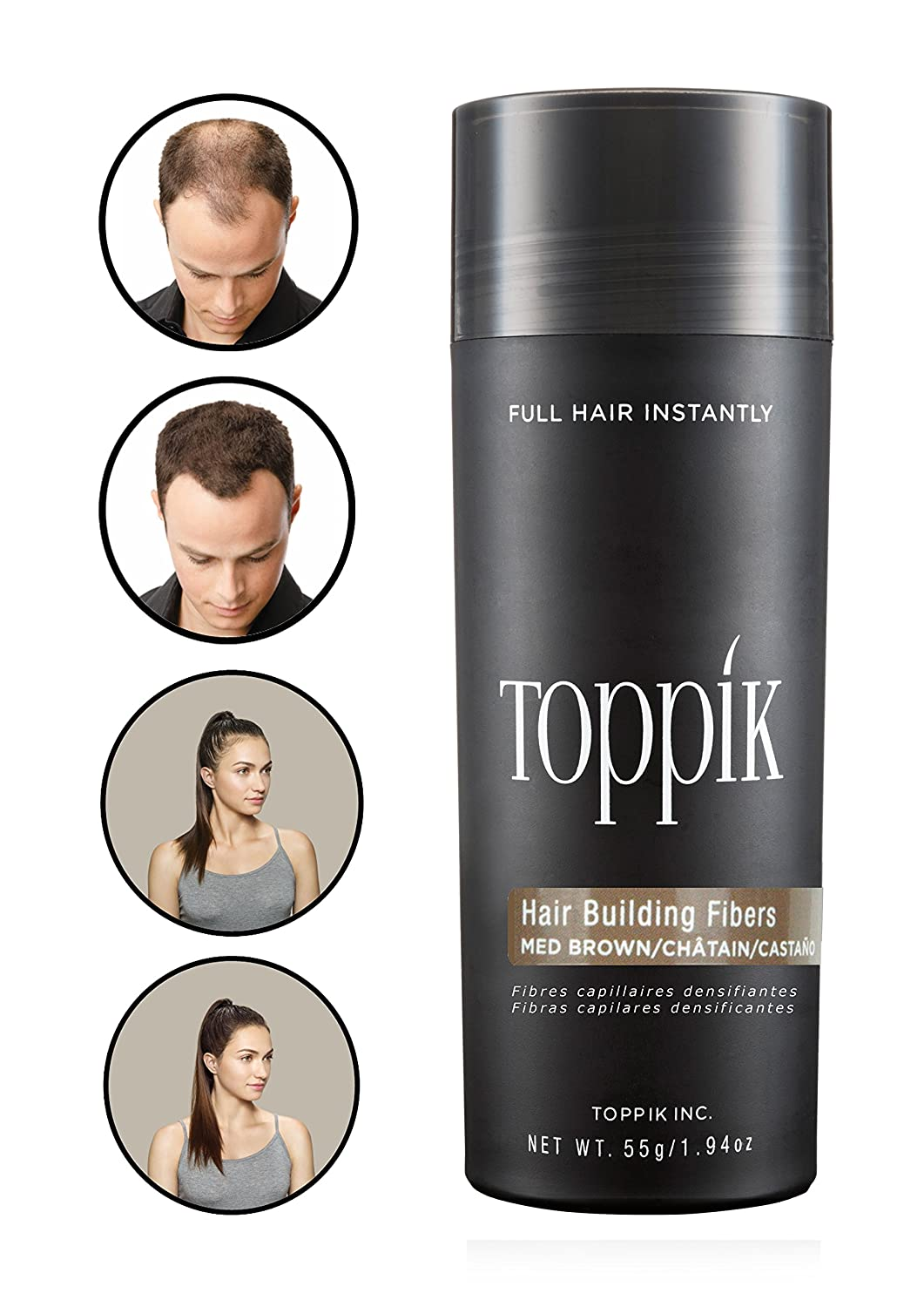 Toppik Hair Building Fibres for Instantly Fuller Hair, Medium Brown, 55-g TOWIR TG3