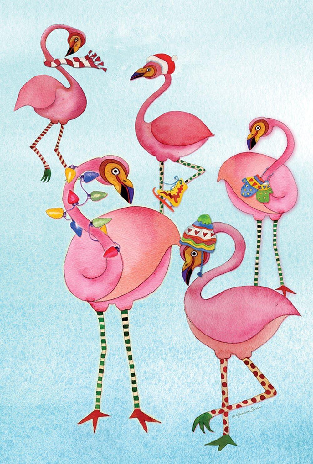 Toland Home Garden Festive Flamingo 12.5 x 18 Inch Decorative Tropical Winter Bird Garden Flag - 1110473