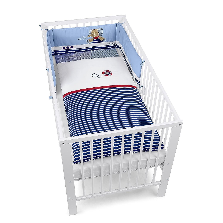 Sterntaler Bett-Set, Kopfkissen, Bettdecke und Bett-Nestchen, Elefant Erwin, Alter  Für Babys ab der Geburt, Blau Mehrfarbig