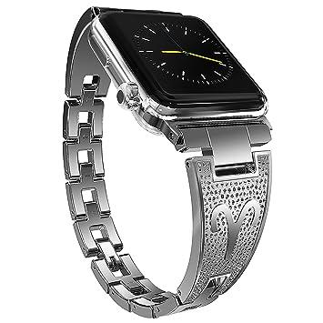 Moretek Correa para Apple Watch Series 1/2 /3- Reemplazo SmartWatch Band de Reloj de Acero Inoxidable Bracelete con Hebilla Plegable Pulsera para ...