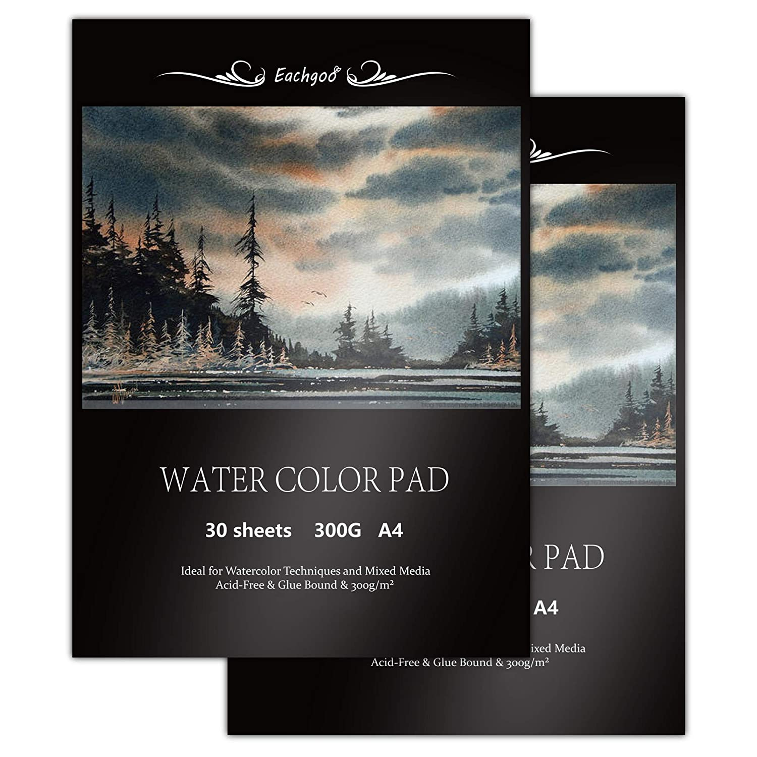 30 Sheets A4 Watercolour Aquarelle Paper 300gsm for Watercolor Painting,Drawing Eachgoo Watercolor Pad Sketching Set of 2)