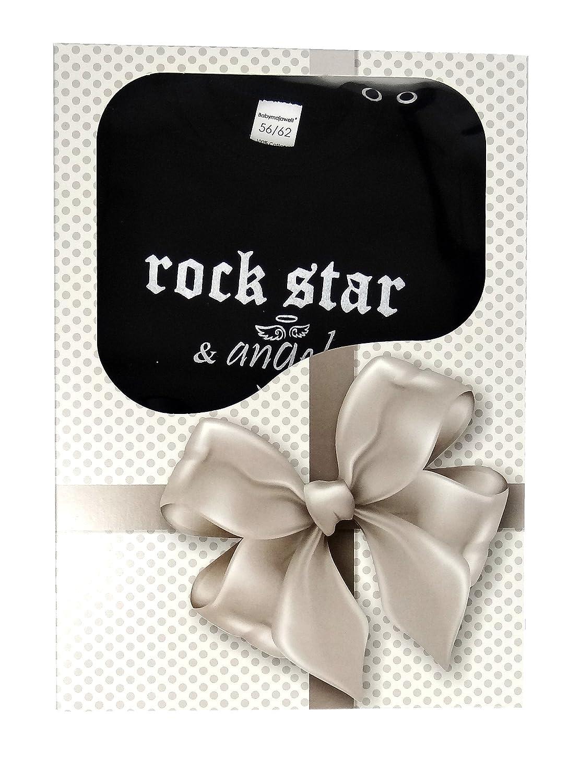Rock Star & Angel Baby Geschenk Set, 4tlg, Geschenk zur Geburt für kleine Rocker (50-56) Babymajawelt®