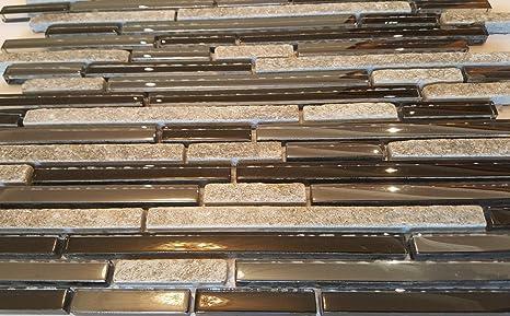 Tessere di mosaico 30 x 30 cm pietra piastrelle grigio nero glitter
