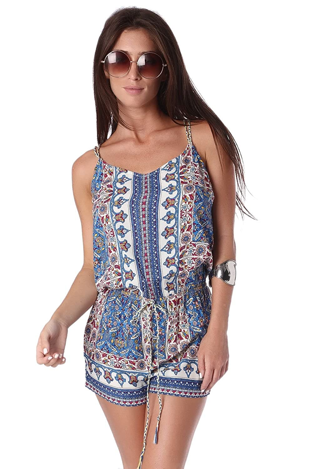 Q2 Women's Blue playsuit in print with lace up back