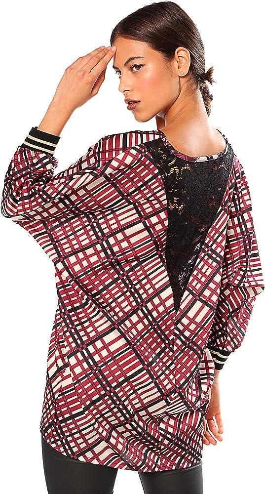 VENCA Blusa Escote en v con blonda en la Espalda Mujer by Vencastyle - 029667, Granate, Unica: Amazon.es: Ropa y accesorios
