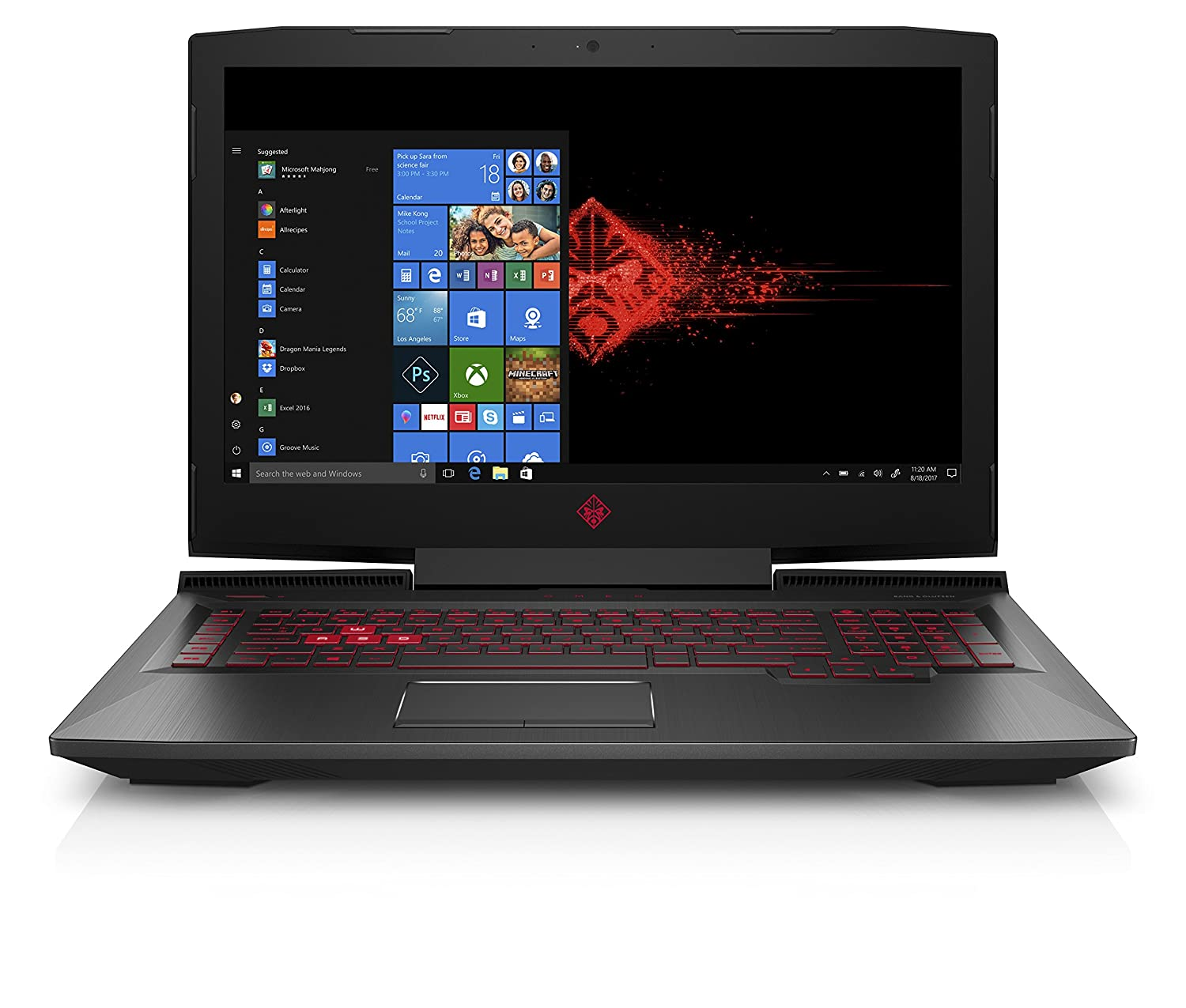 OMEN by HP 17-inch Gaming Laptop w/ 144Hz Anti-Glare G-Sync Display, i7-8750H, GeForce GTX 1060 6 GB, 16GB 2666MHz RAM, 1TB HDD & 128 GB PCIE SSD, Windows 10 Home (17-an120nr, Black), Metal