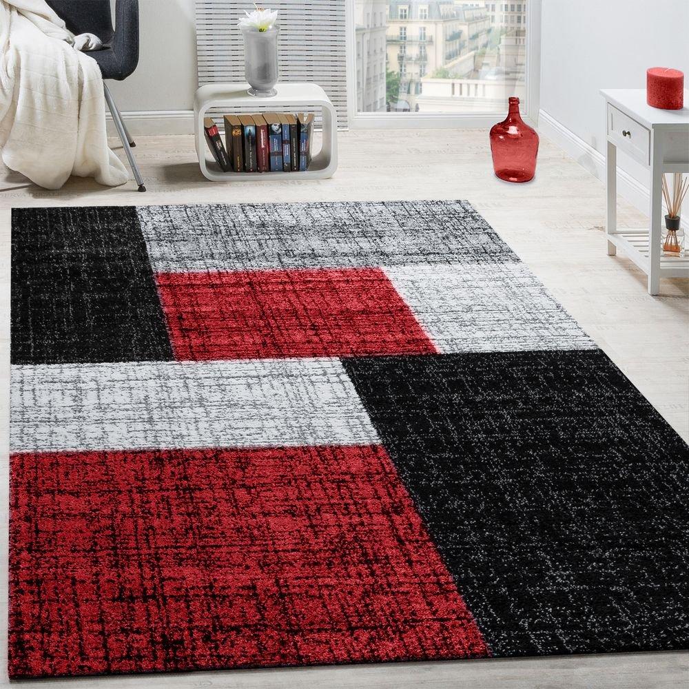 Designer Teppich Modern Kariert Kurzflor Teppich Design Meliert Braun Beige Rot