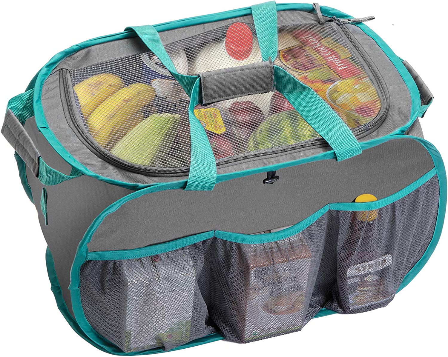 Amazon Com Smart Design Pop Up Trunk Organizer W Easy Carry Handles Side Pockets Zipper Top 23 Inch Durable Fabric Collapsible Design Home Organization Holds 50 Lbs Gray W Teal Trim Home
