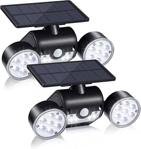 IDEALHOUSE Solar Lights Outdoor, 30 LED Solar Security Lights with Motion Sensor Dual Head Spotlights IP65 Waterproof 360 Adjustable for Front Door Yard Garden Garage Patio Deck 2 Pack