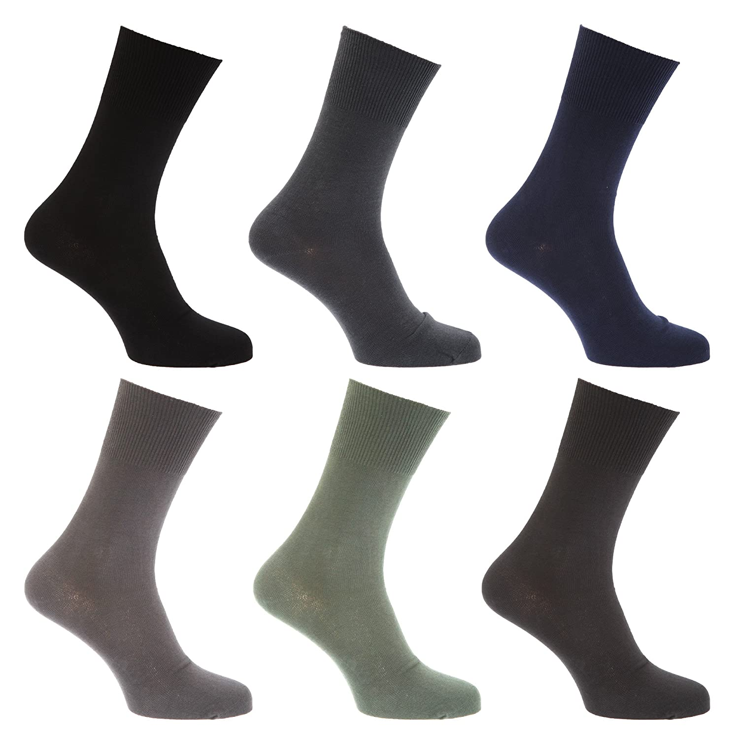 Mens Stay Up Non Elastic Diabetic Socks (Pack Of 6) Universal Textiles UTMB250_3
