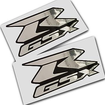 Suzuki Gsxr Silber Chrom Auf Schwarz Grafik Aufkleber Aufkleber X 2 Auto