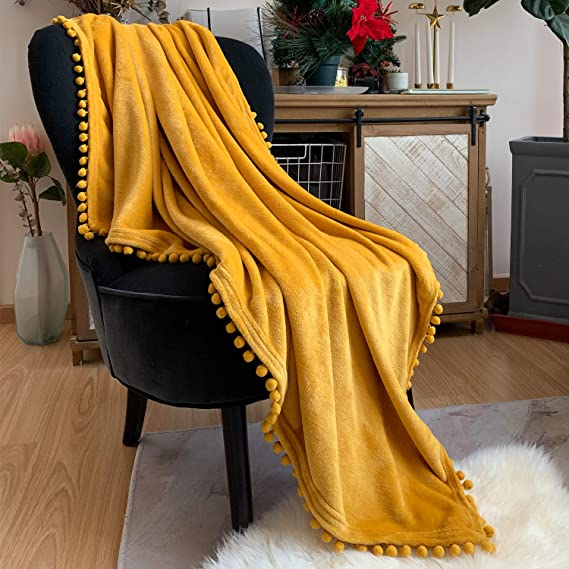 Lomao Flannel Blanket With Pompom Fringe Lightweight Cozy Bed Blanket Soft Throw Blanket Fit Couch Sofa Suitable For All Season (51x63) (Yellow) by Lomao