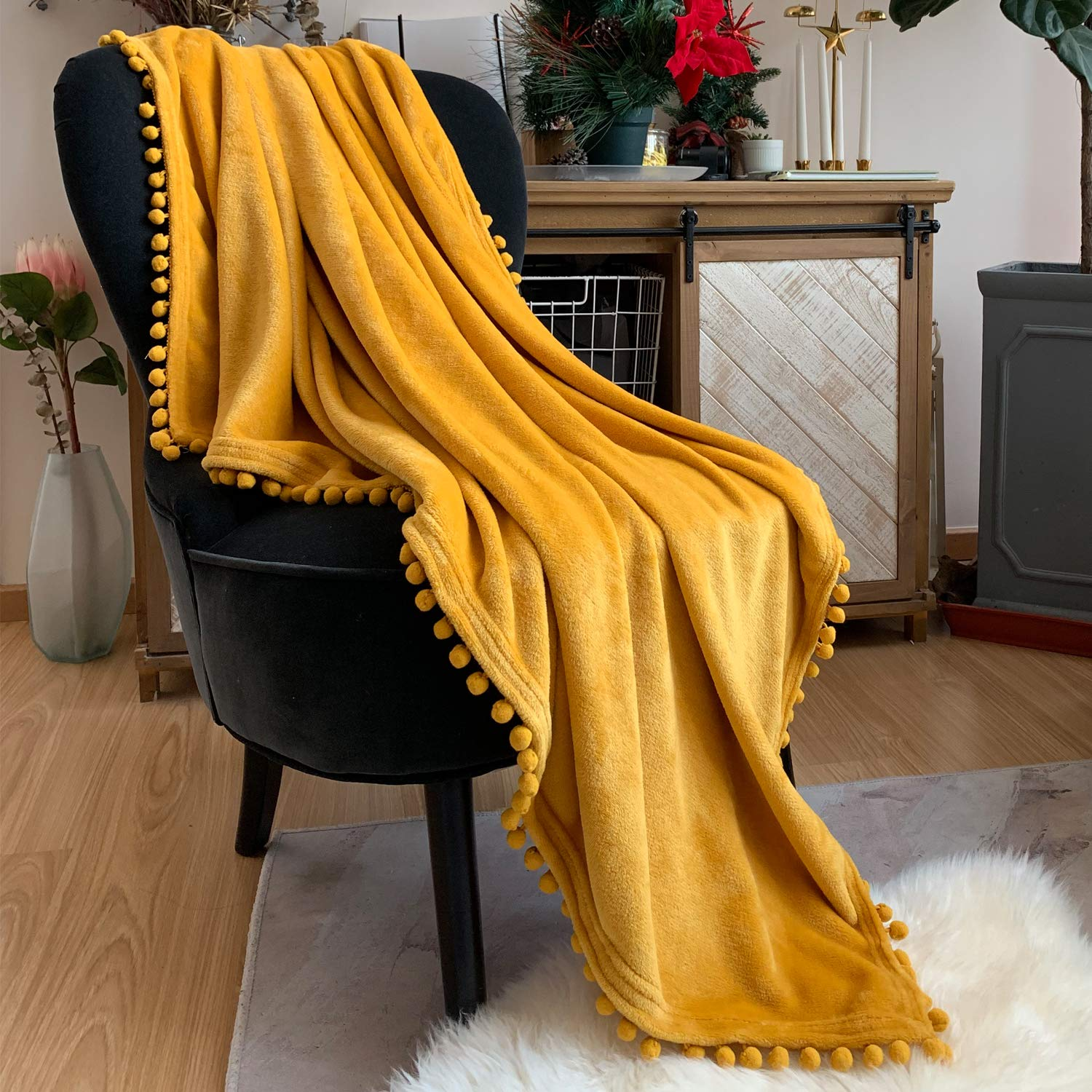 LOMAO Flannel Blanket with Pompom Fringe Lightweight Cozy Bed Blanket Soft Throw Blanket fit Couch Sofa Suitable for All Season (51x63) (Yellow)