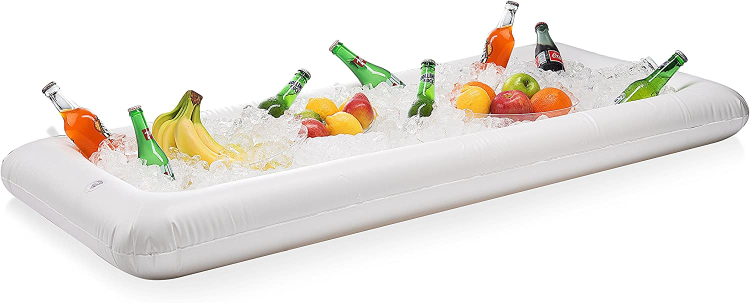 Inflatable serving Bar and salad bar - portable serving bar for Football Parties, Pool Parties - blow up server caddy to keep food salad and drinks cold