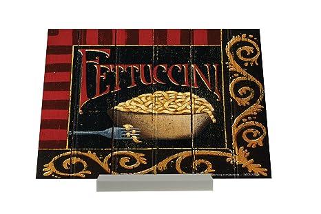 Soporte Fotografias Cocina Adornos fideos Fettuccini placa de la horquilla Letrero Retro