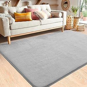 Color&Geometry Soft Modern Shag Area Rugs,3x5.3 Feet Indoor Living Room Carpet for Bedroom Home Decor Floor Mat Nursery Rug,Grey