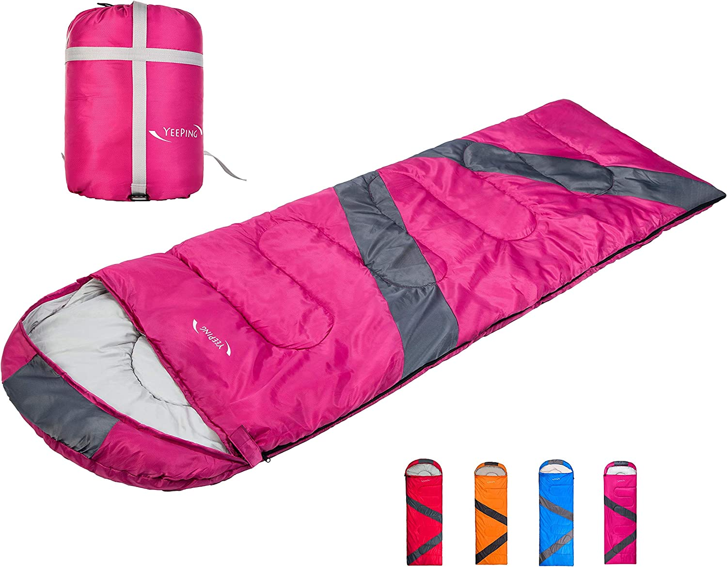 Yeeping 3-4 Season Envelope Sleeping Bag with Compression Sack - Waterproof, 20 Degree Fahrenheit, 3 Lbs Filling, Great for Kids, Youth and Adults, Hiking/Camping/Traveling, Warm & Cozy