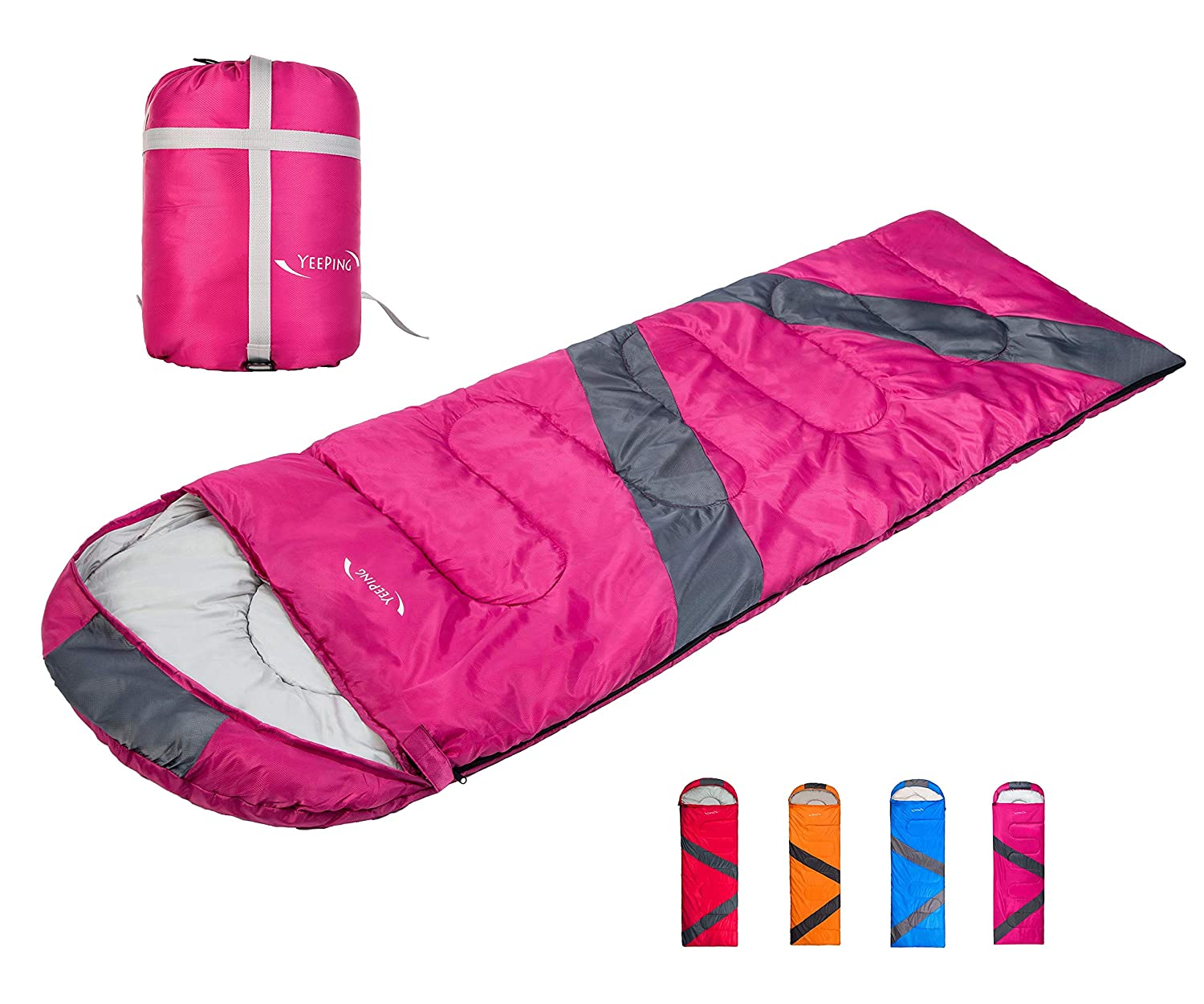 Yeeping 3-4 Season Envelope Sleeping Bag with Compression Sack – Waterproof, 32 Degree Fahrenheit, Great for Kids, Youth and Adults, Hiking Camping Traveling, Warm Cool Weather, Lightweight