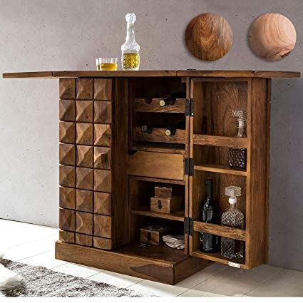 RSFURNITURE Sheesham Wood Bar Cabinet for Living Room with Wine Glass  Storage Teak Finish: Amazon.in: Home & Kitchen