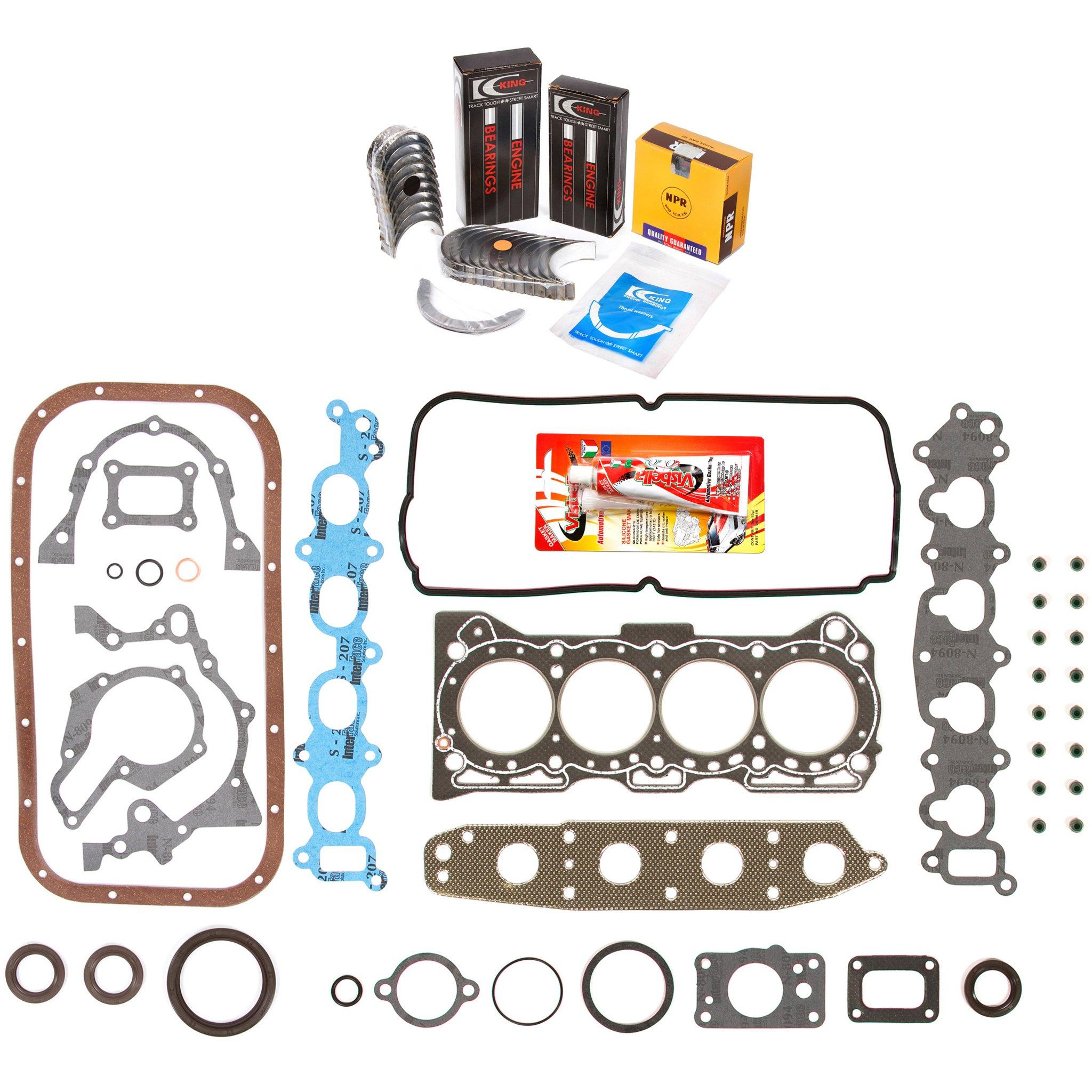 Domestic Gaskets Engine Rering Kit FSBRR8008 92-01 Suzuki GEO Chevrolet 1.6 G16KV Full Gasket Set, Standard Size Main Rod Bearings, Standard Size Piston Rings by Domestic Gaskets