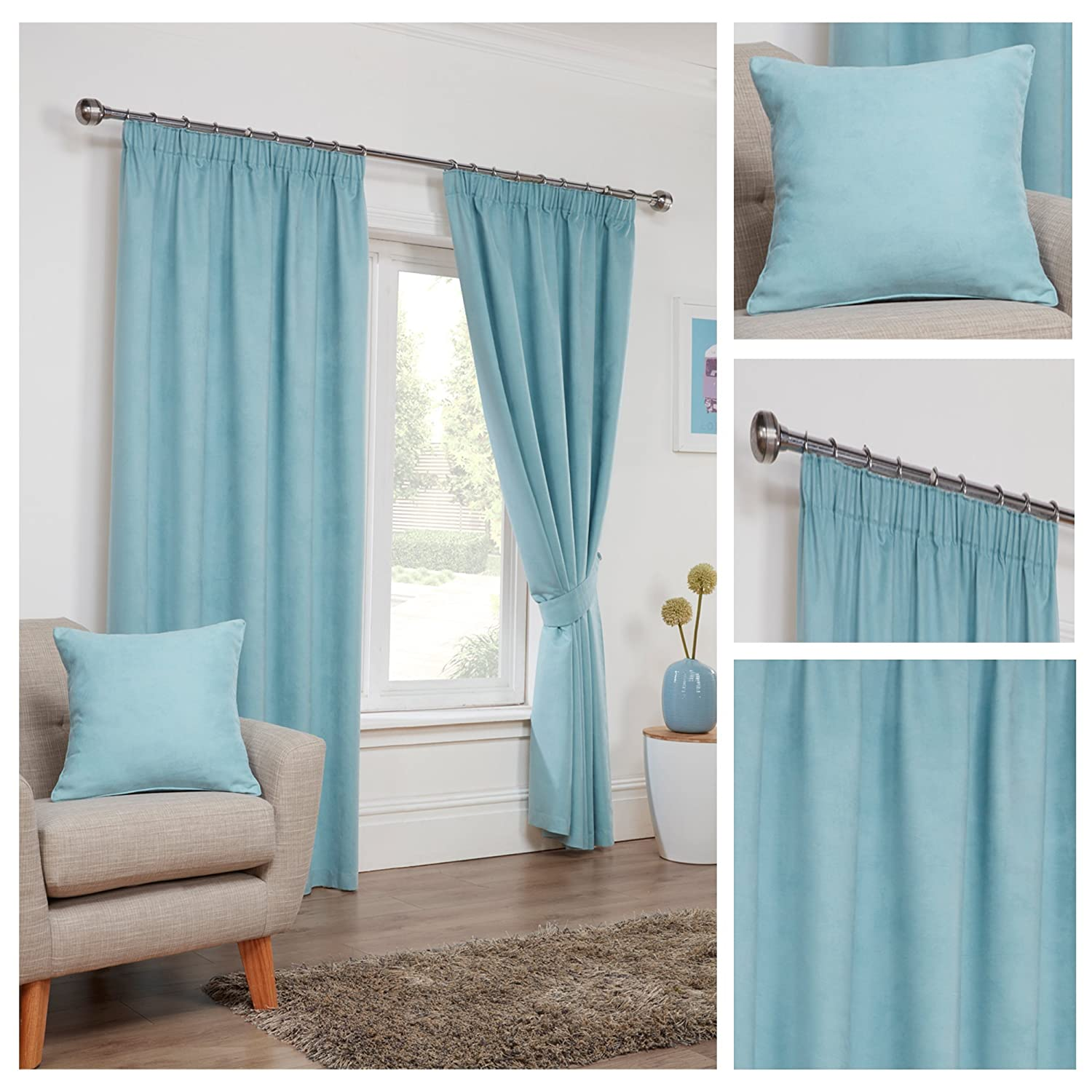 Faux Suede Grey Pencil Pleat/Tape Top Fully Lined Readymade Curtain ...