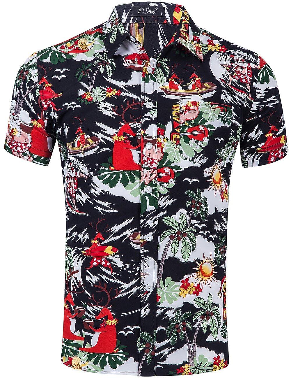 a5ed103d DESIGN:Summer Tropical Men's Casual Button Up Flamingo Hibiscus Christmas  Caribbean Attire Beach Aloha Hawaiian Shirts(Floral  Hibiscus/Flamingo/Coconut ...