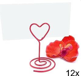 EinsSein 12x Tischkartenhalter Heart Wired rot small Tischkartenhalter Platzkartenhalter Namenskartenhalter Herz