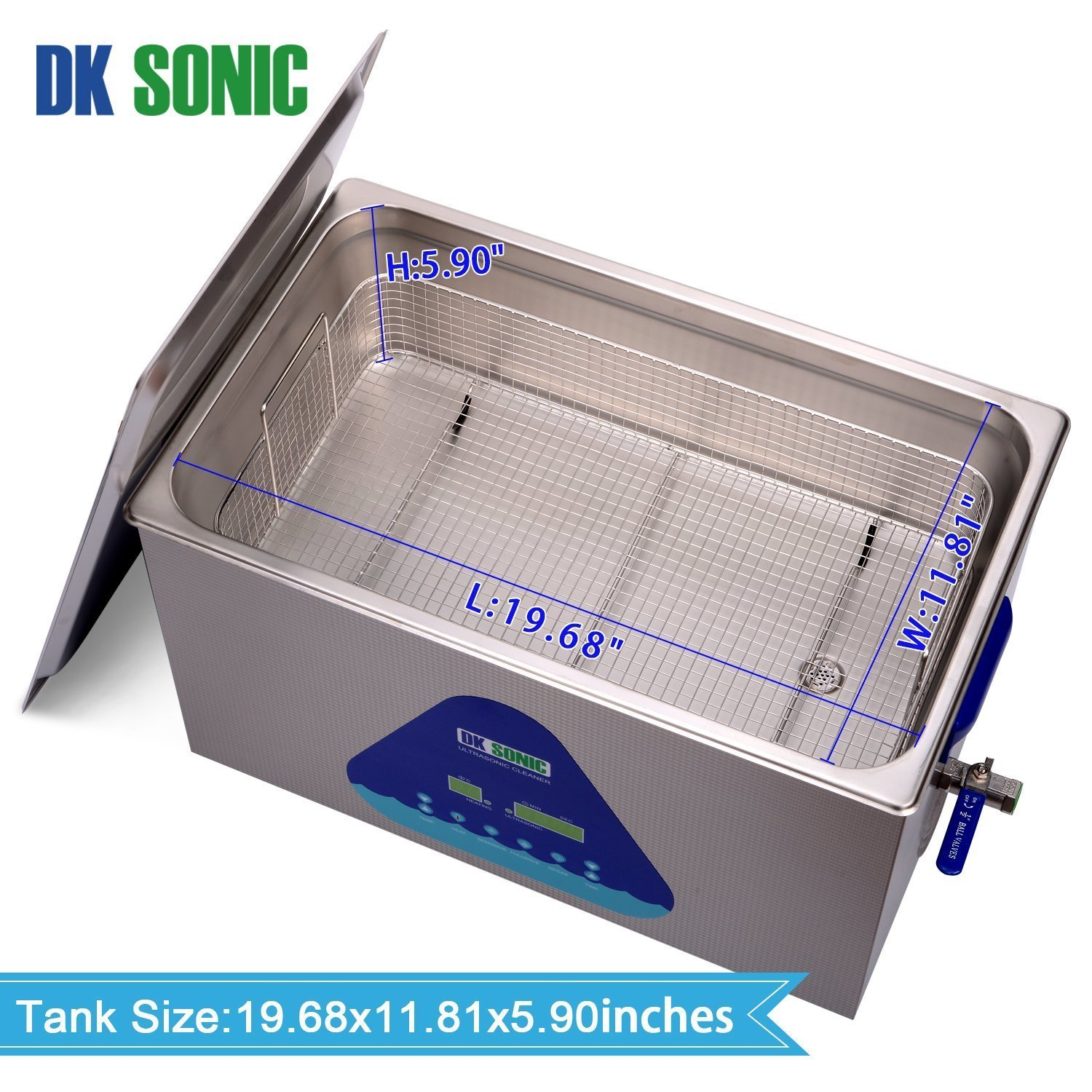Lab Digital Ultrasonic Carburetor Cleaner Heated - DK SONIC 22L 480W Ultrasonic Gun Cleaner for Parts Jewelry Brass Eyeglass Ring Fuel Injector Glasses Record Diamond Circuit Board 28/40KHz by DK SONIC (Image #7)