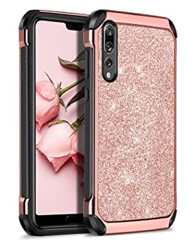 size 40 2edc7 e69cf BENTOBEN Phone Case Compatible for Huawei P20 Pro, P20 Pro Case Shockproof,  Shockproof Anti-scratch 2 in 1 Hybrid Hard PC Soft TPU Glitter Protective  ...