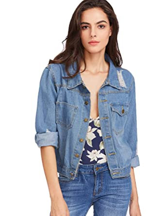 c809d408f2 SheIn Women s Casual Ripped Plain Button Down Denim Jacket at Amazon ...