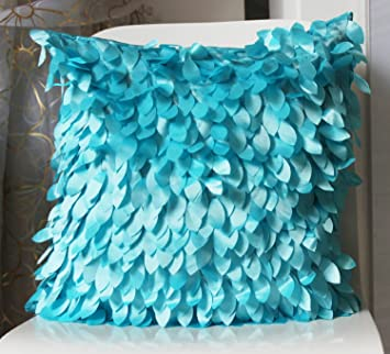 Amazon.com: checkmineout 18 inch Luz Turquesa Fluffy Leaf ...