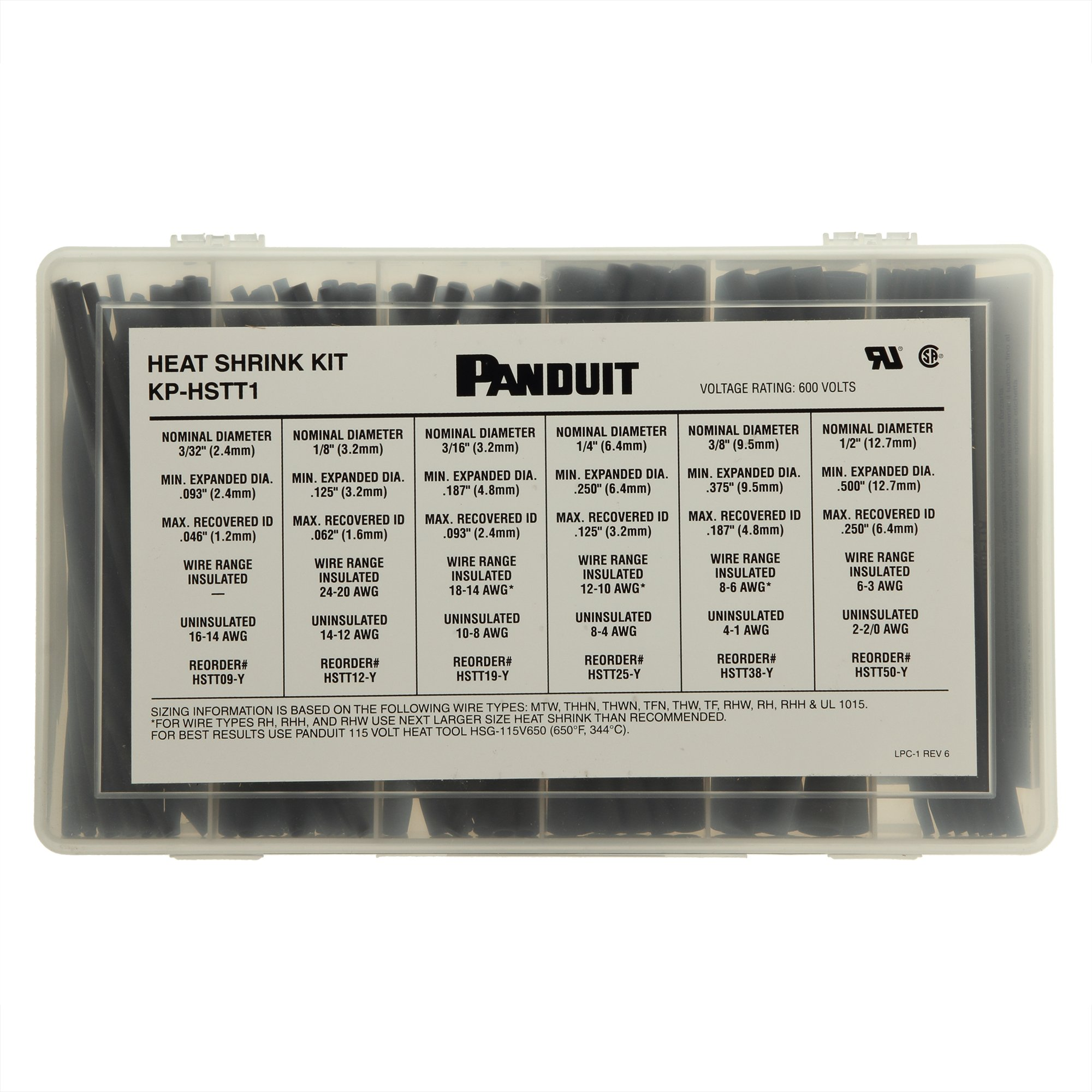 Panduit KP-HSTT1 Cross Linked Polyolefin Heat Shrink Kit, Black