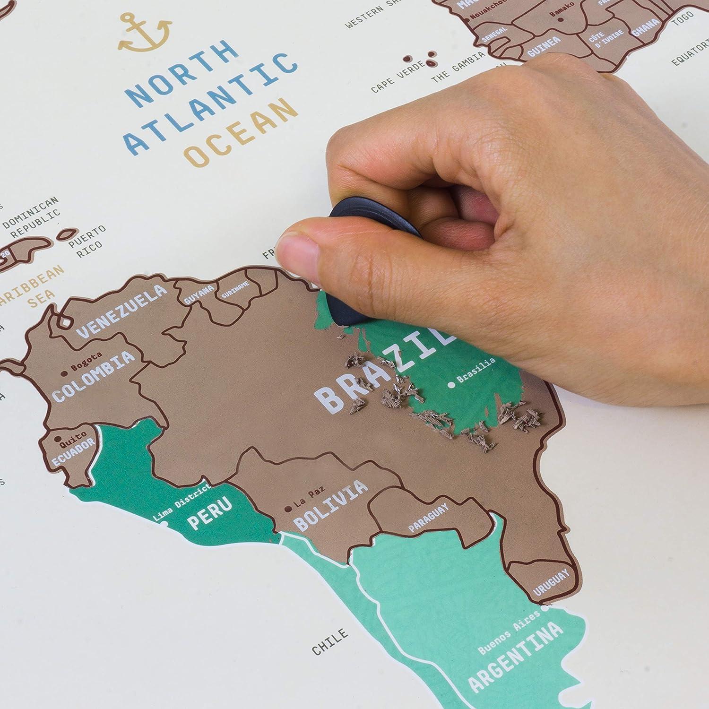 Mapa del Mundo para Rascar - Poster de Viaje Gran Tamaño de Estilo Artístico, Fabricado con Materiales de Alta Calidad | Incluye los Estados de EE.