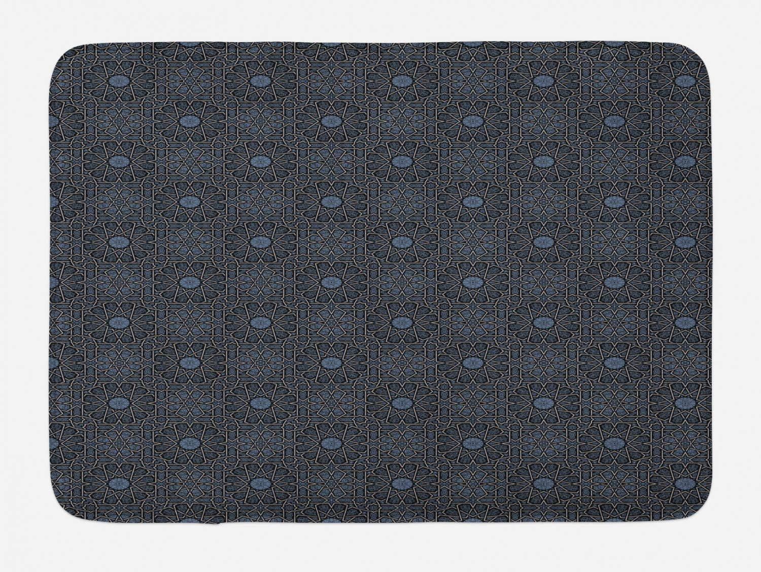 Ambesonne Moroccan Bath Mat, Geometric Design with Old Rich Royal Elements and Moroccan Star Dark, Plush Bathroom Decor Mat with Non Slip Backing, 29.5