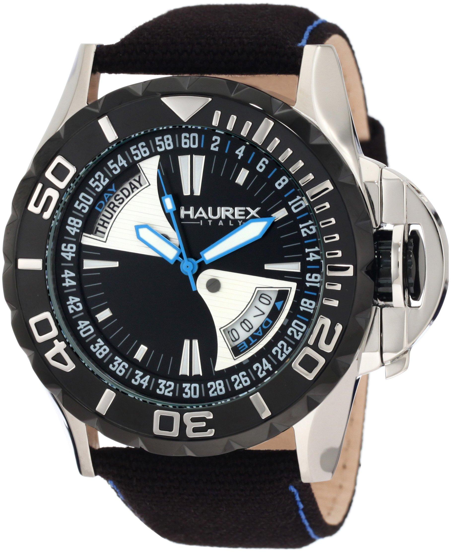 Haurex Italy Men's 8D365UNB Black Sea Day and Date Canvas Strap Black PVD Bezel Sport Watch
