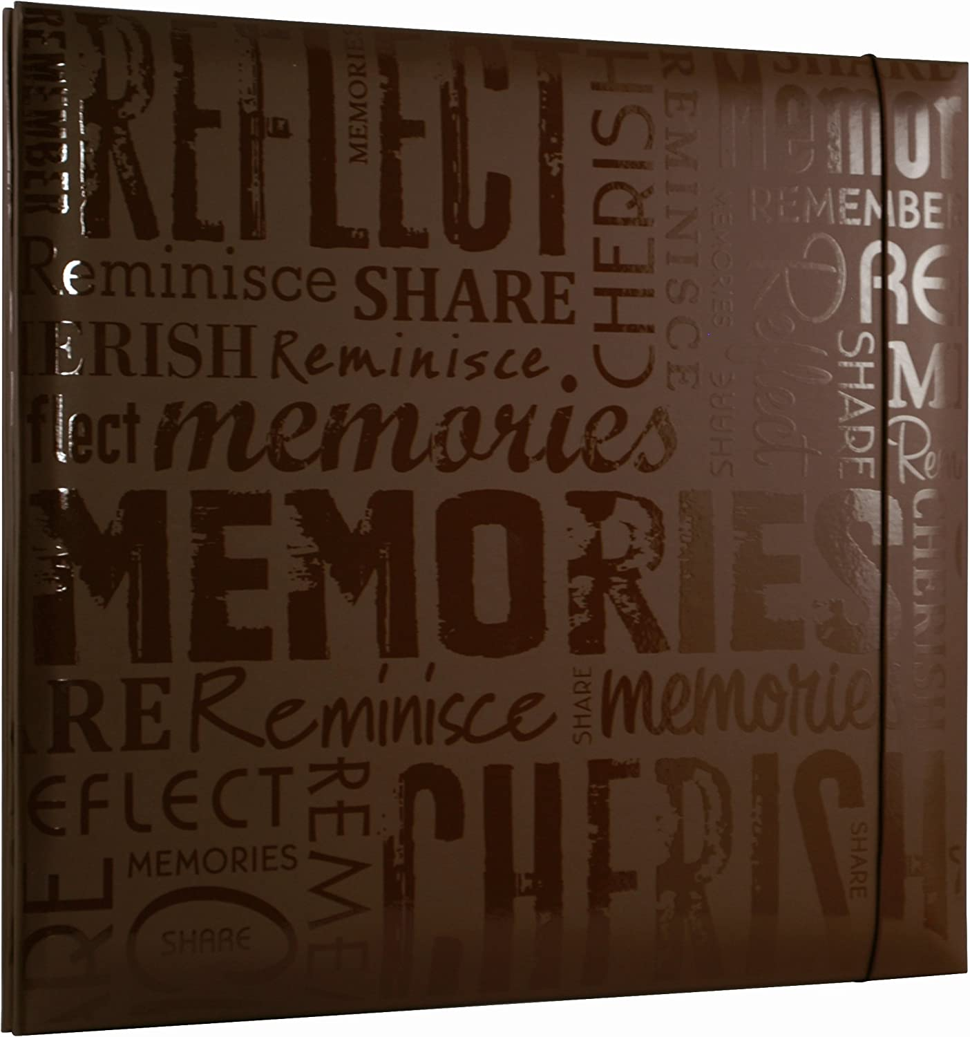 Embossed Memories Brown 848122 MCS MBI 13.5x12.5 Inch Embossed Gloss Expressions Scrapbook Album with 12x12 Inch Pages