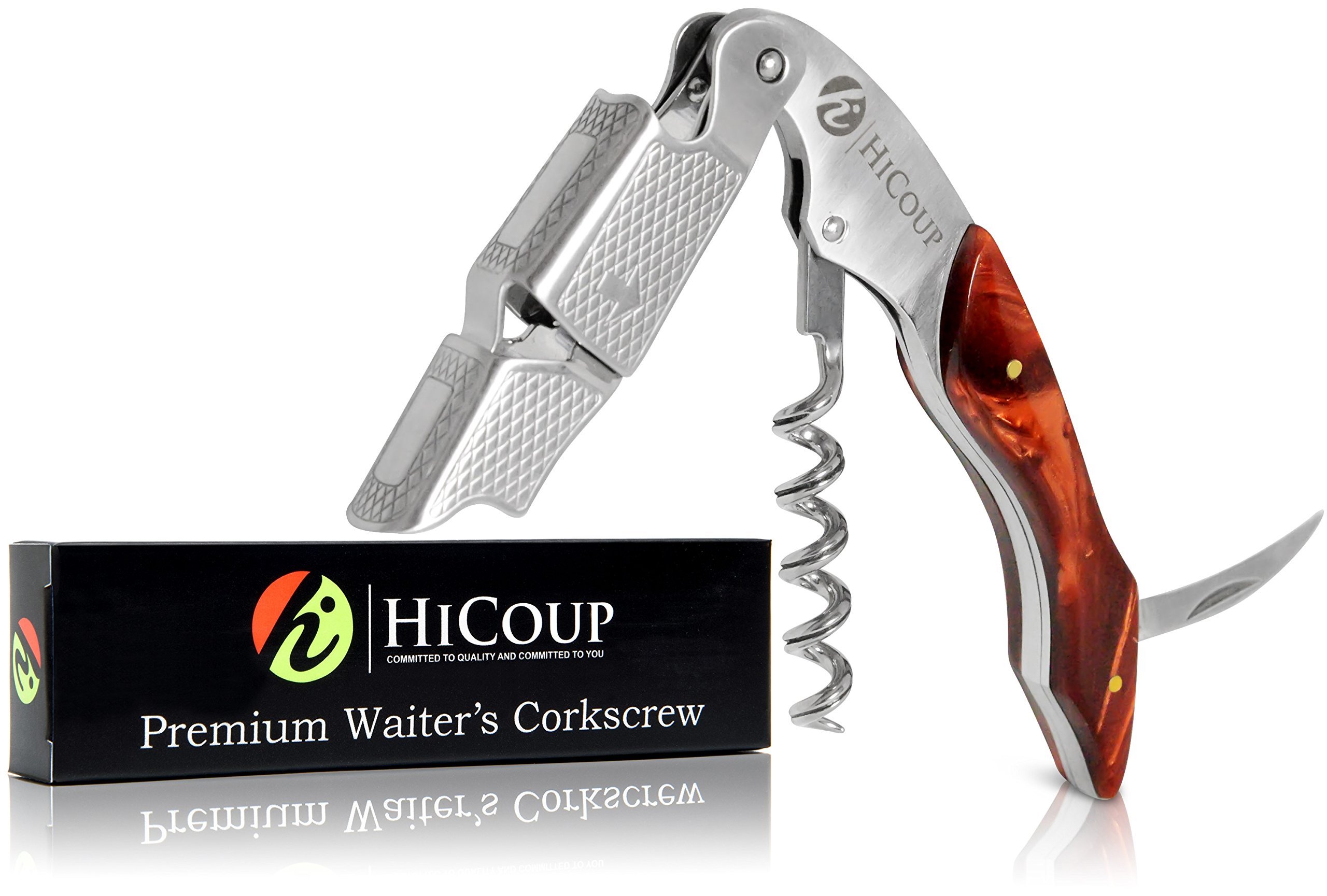 Professional Waiter's Corkscrew by HiCoup - Tiger's Eye Resin Handle All-in-one Corkscrew, Bottle Opener and Foil Cutter, the Favored Choice of Sommeliers, Waiters and Bartenders Around the World