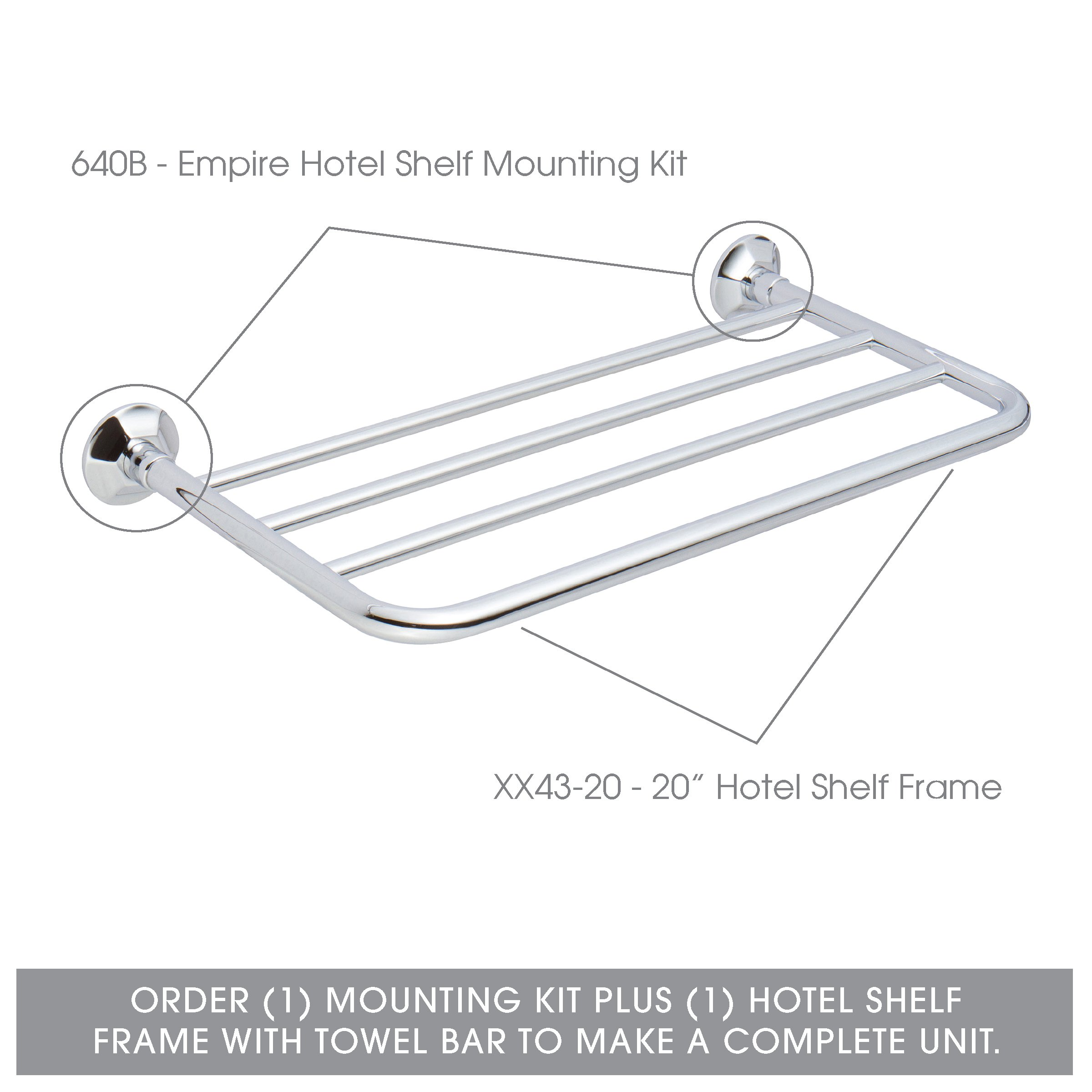 Ginger Empire Hotel Shelf Mounting Kit - 640B/PC - Wall Mounted Towel Rack Trim Brackets - Polished Chrome - Mounting Kit Only by Ginger (Image #5)