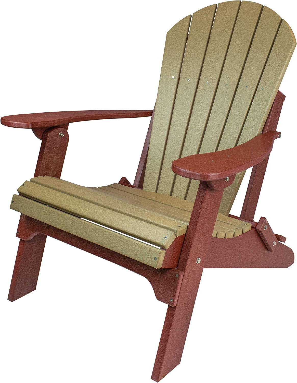 Amish Made Poly Folding Adirondack Chairs (Weatherwood on Cherry)