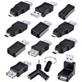 Sunmns OTG USB Mini Micro Male to Female Connector Adapter Converter, Support Data Sync and Charging, 13 Pieces