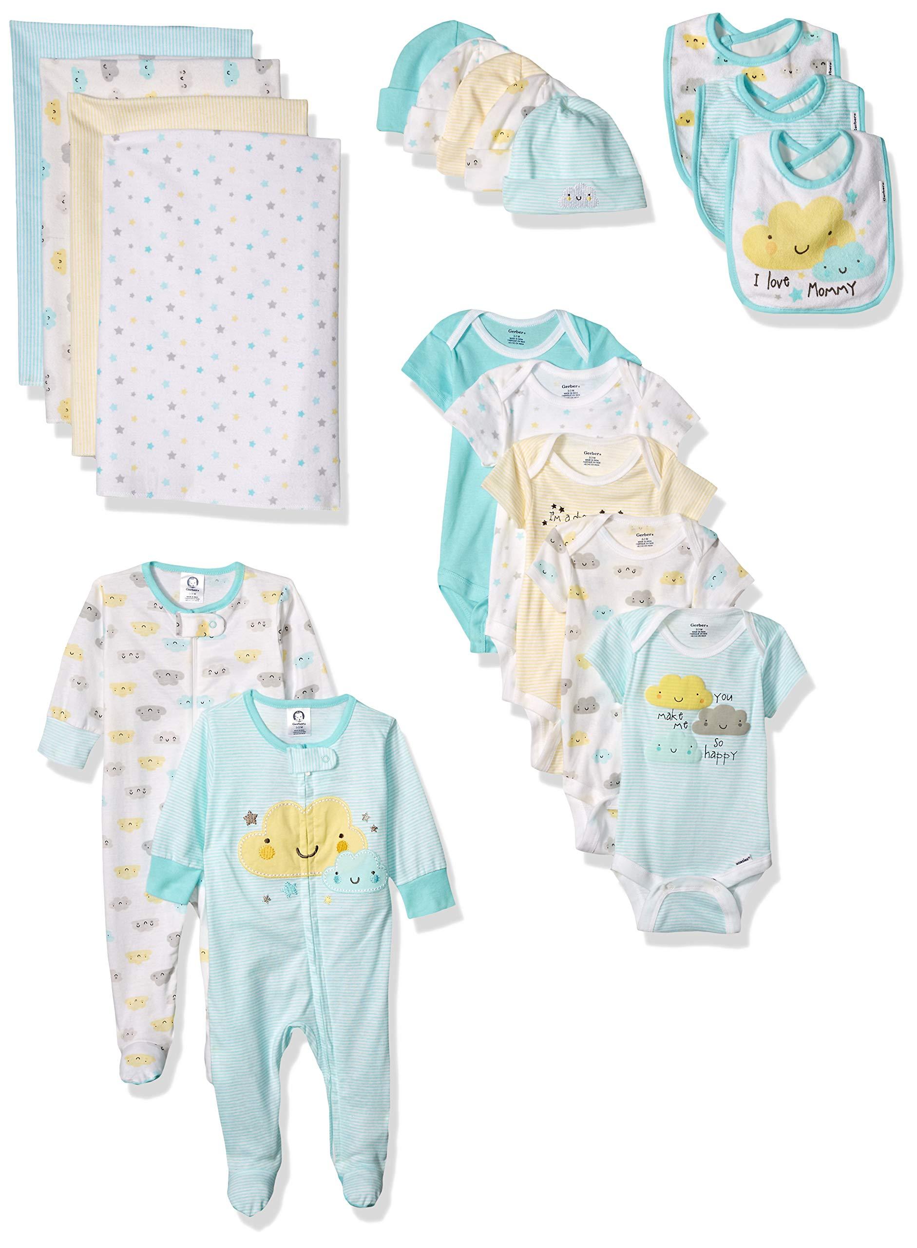 Gerber Baby 19-Piece Essentials Gift Set, Clouds, Newborn